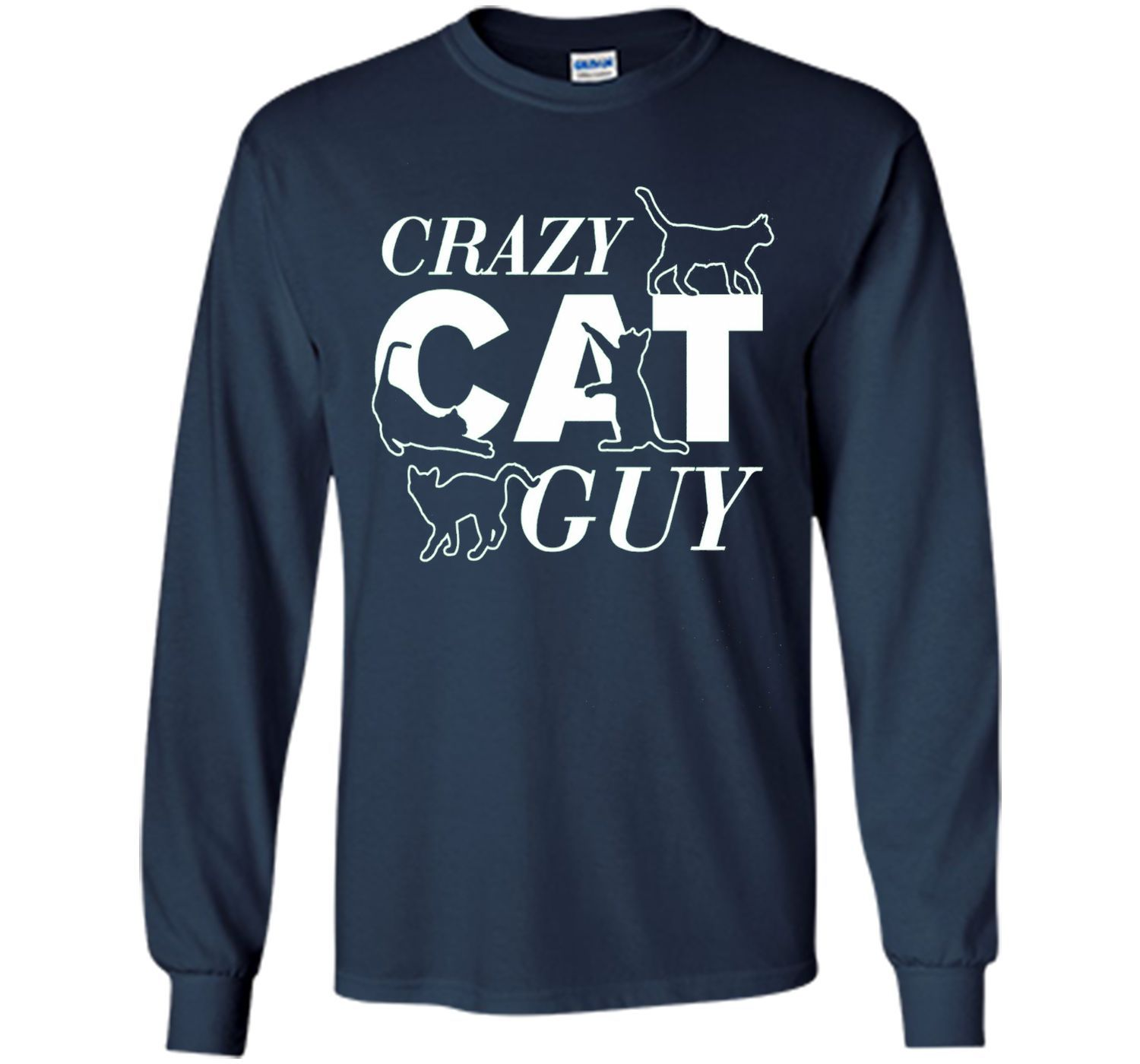 Men's Fathers Day gift, Crazy Cat Guy T Shirt HQ