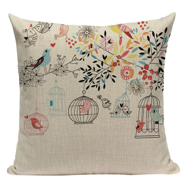 Fashion Oiseau impression Coton Lin Taie d/'oreiller canapé maison décor Housse de coussin