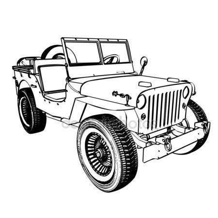 Vintage Wwii American Jeep Stock Vector Jeep Drawing Jeep Art