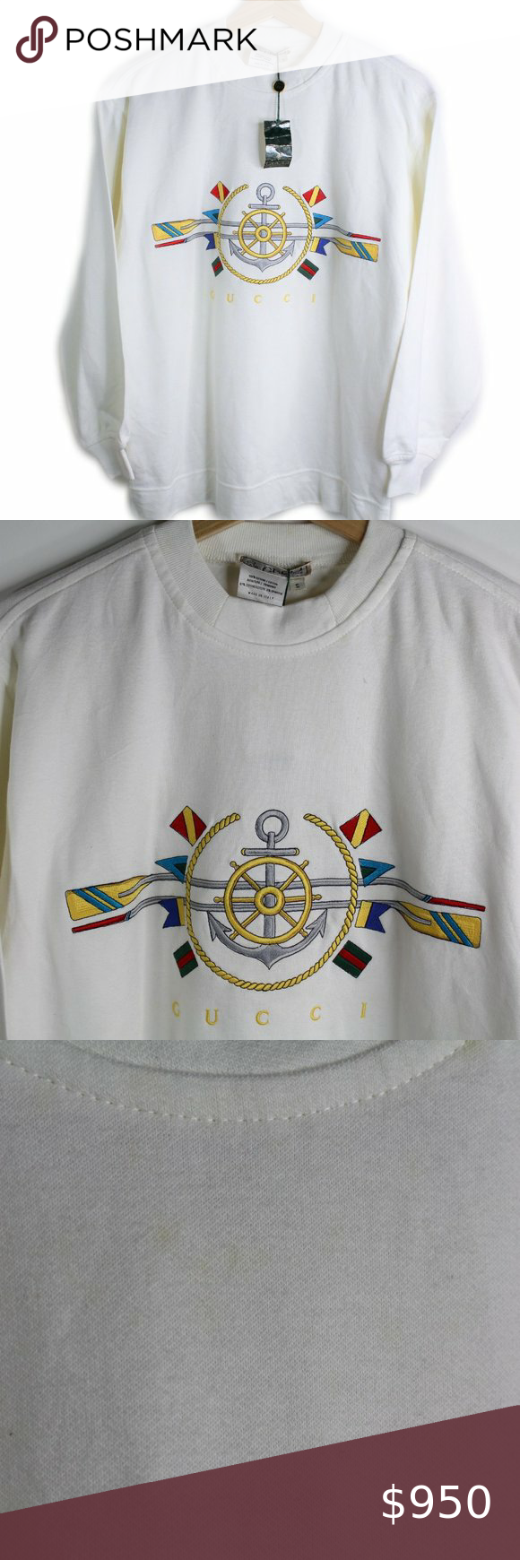 Vintage Gucci Nautical Crewneck Sweatshirt New Nwt Vintage Gucci Crew Neck Sweatshirt Sweatshirts [ 1740 x 580 Pixel ]