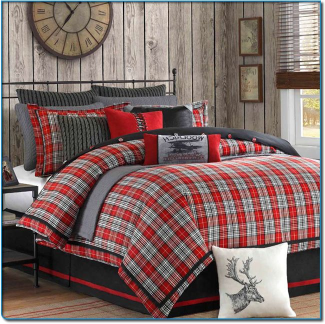 Plaid bedding for boys williamsport plaid queen comforter sets lodge bedding collections Master bedroom with red bedding