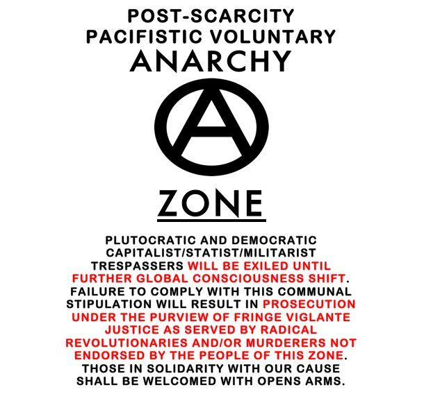 Post-scarcity pacifistic voluntary anarchy zone