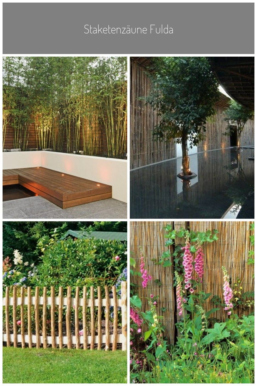 Beleuchtung Garten Innenhof Gestaltung Sichtschutz Bambus Holz