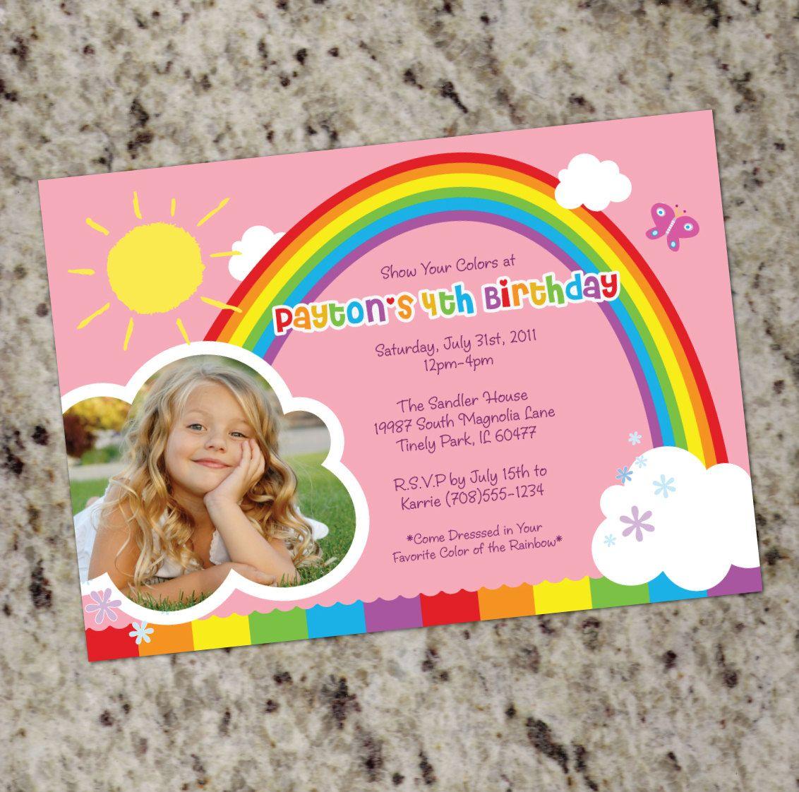RAINBOW PARTY Birthday Party Invitations Printable Design