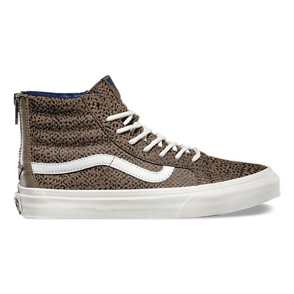 f3426a3a93fc45 The Cheetah Suede Sk8-Hi Slim Zip combines a slimmed down version of the  legendary lace-up high top with a zipper entry at the heel