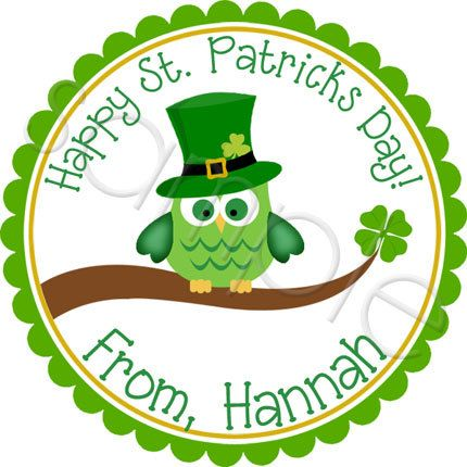 Leprechaun Owl for Saint Patrick's Day!  Personalized stickers by partyINK.