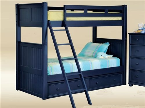 Shop The Dillon Navy Blue Wood Twin Bunk Bed For Children S Bedroom