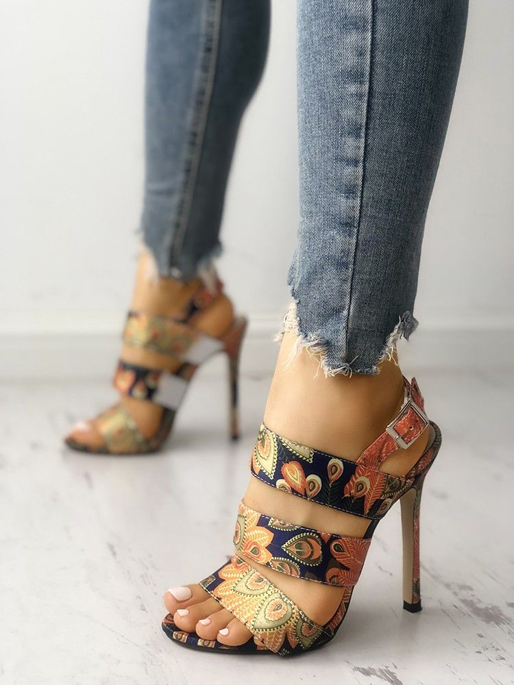 10589f1d002d Peacock Feather Print Bandage Thin Heeled Sandals in 2019