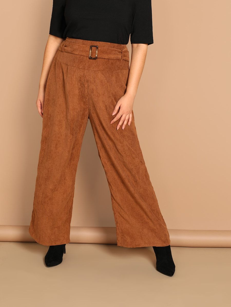 05a5409250 Plus Waist Belted Cord Pants -SHEIN(SHEINSIDE) | Phat in 2019 ...