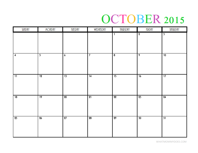 2015 Monthly Calendar Templates Free Printables Pinterest