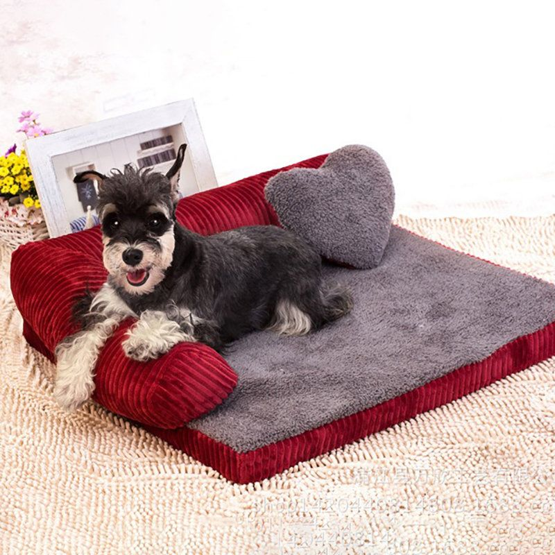 Luxury Corduroy Bolster Large Dog Sofa Bed Pet Puppy