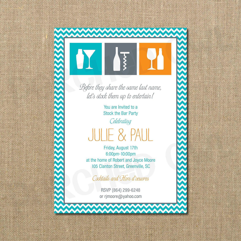 Stock The Bar Couples Shower Invitation. $12.00, via Etsy. | Party ...