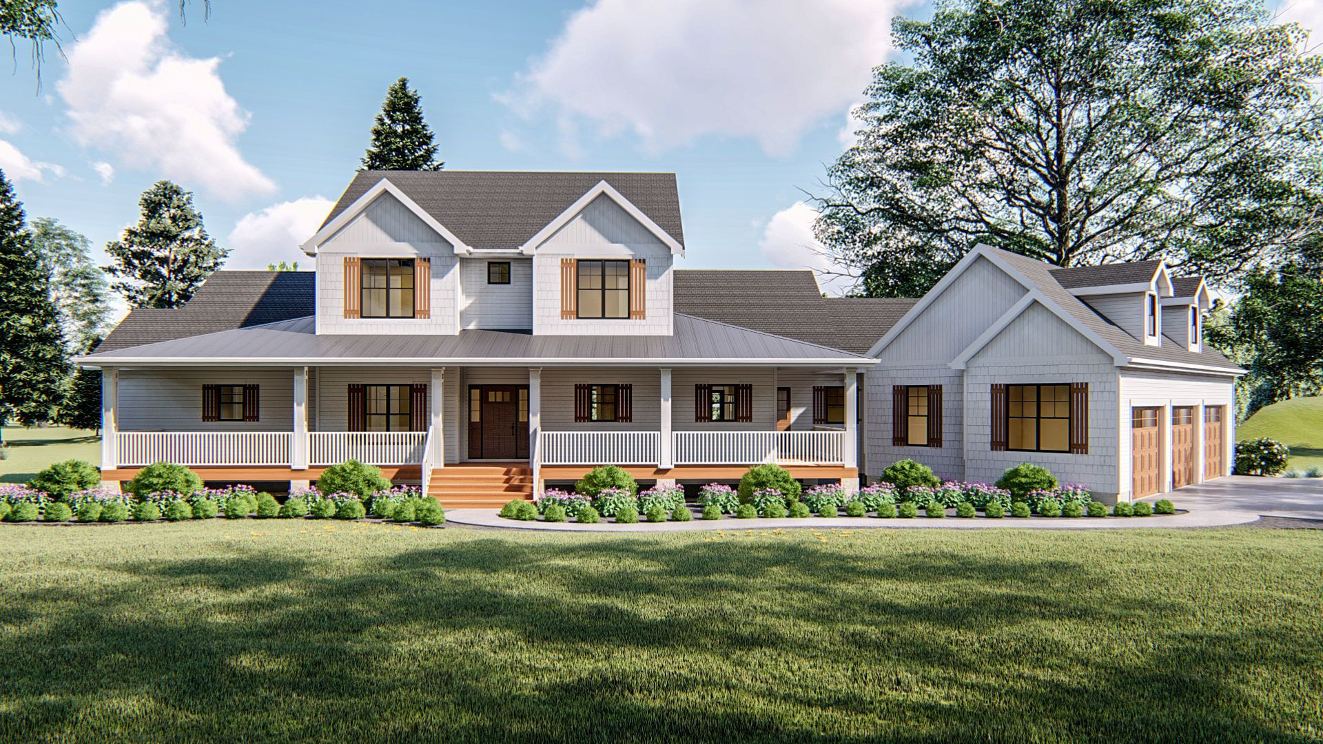 modern farmhouse exterior with wrap around porch