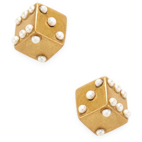 Marc Jacobs Charms Dice Stud Earrings in Metallic Gold 930nCw