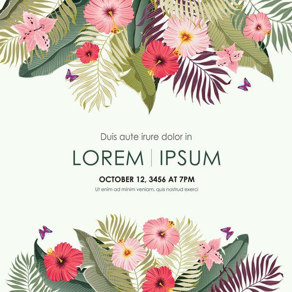 Autumn invitation card template with flower vector 10 | Autumn ...