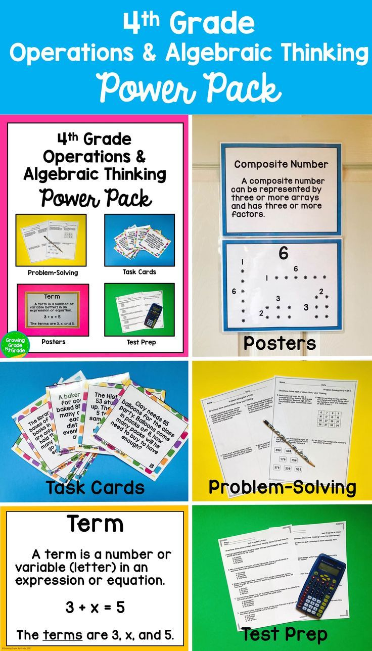 Feel confident with four ways to master 4.OA skills! You can offer students  Task Card e…   Algebraic thinking [ 1288 x 736 Pixel ]