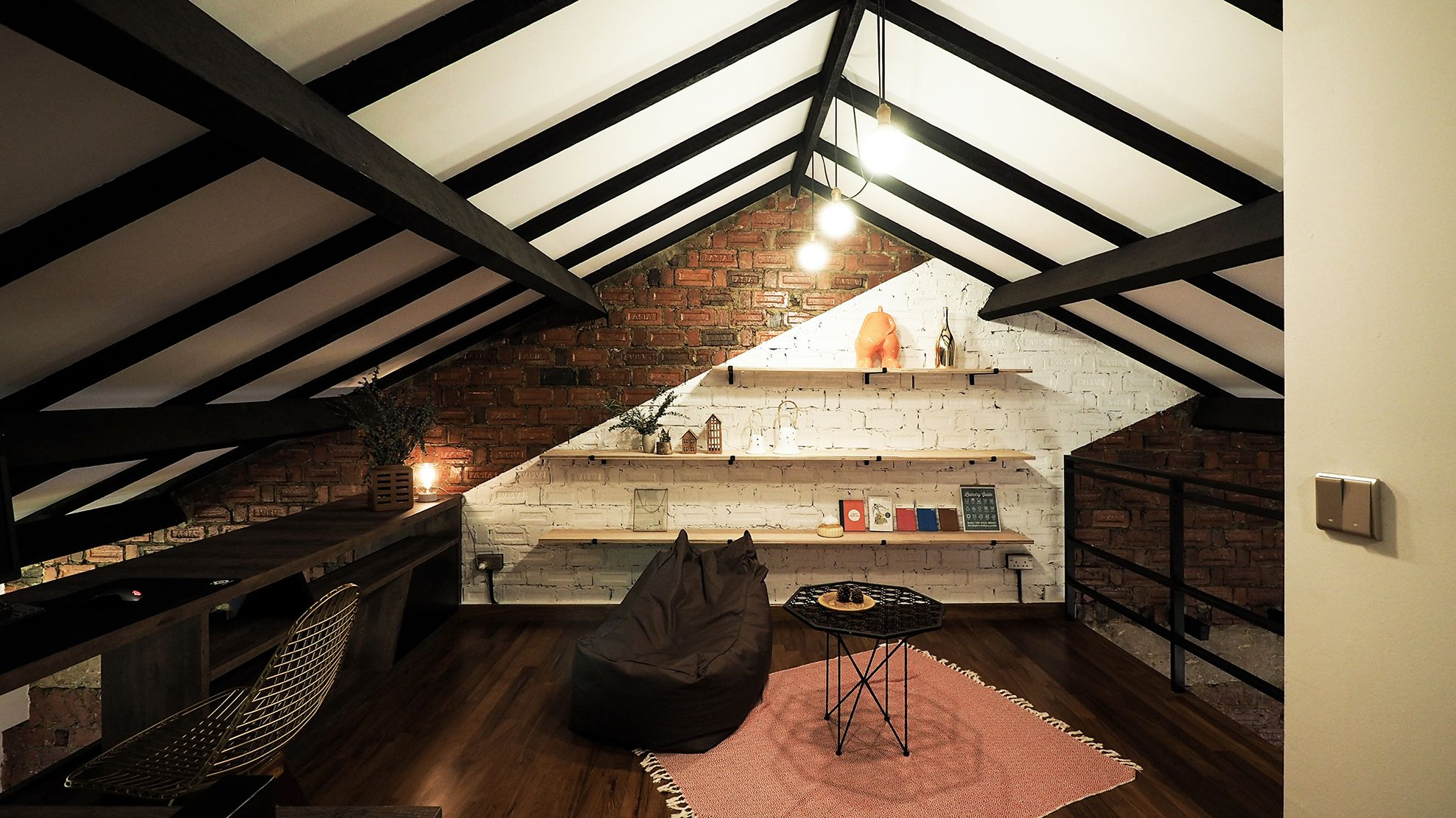 House Upstairs By Studio Super Safari Timber Beams House Copper Lantern