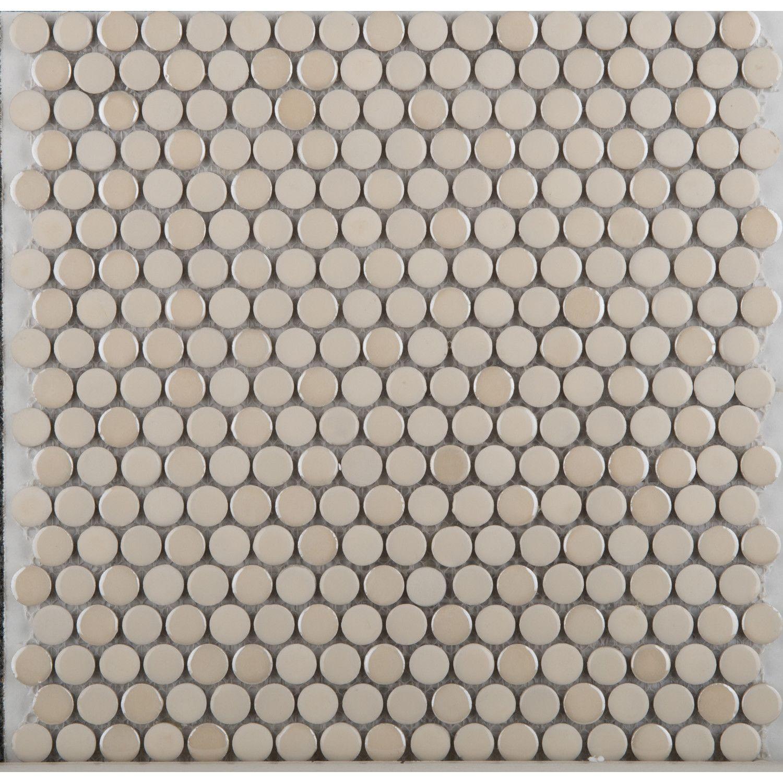 Emser Tile Confetti Penny Round Porcelain Glazed Mosaic In Cream
