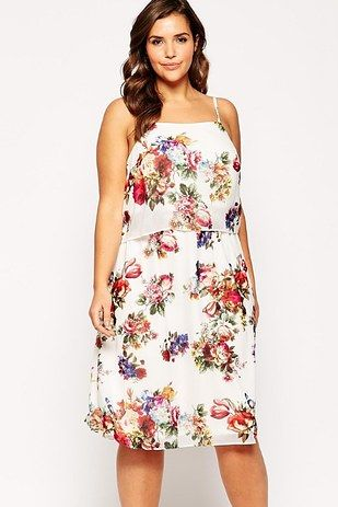 Double Layer Midi Dress In Floral Print, $68, ASOS Curve | 22 Super Adorable Plus-Size Dresses For Spring
