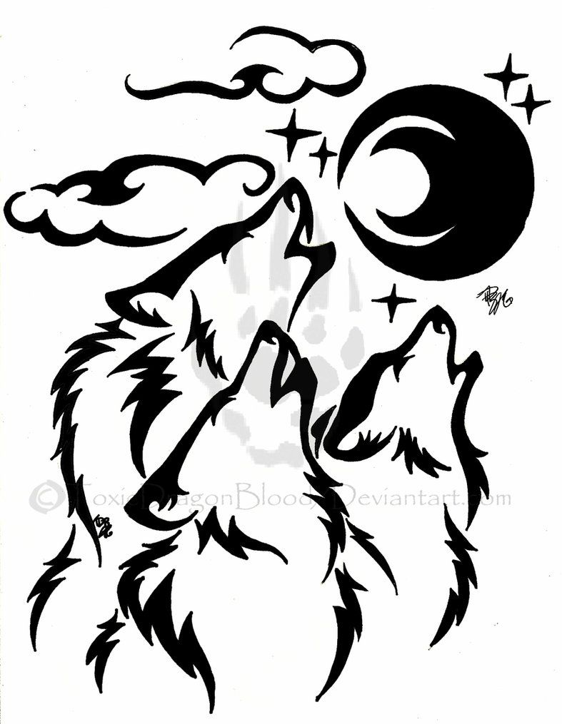 Images For  U0026gt  Tribal Wolf Drawing Howling