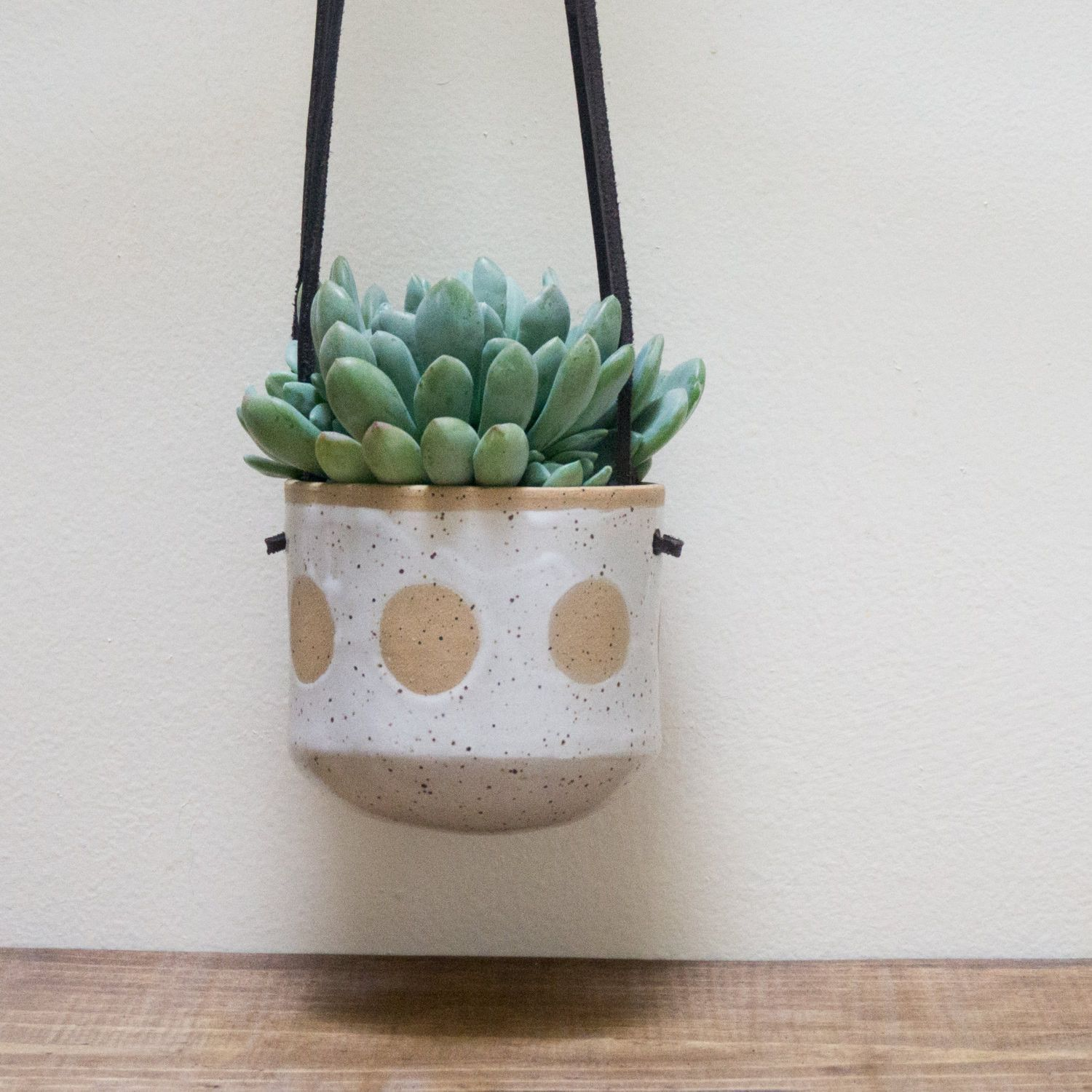 Handmade Ceramic Hanging Wall Planter For Succulents