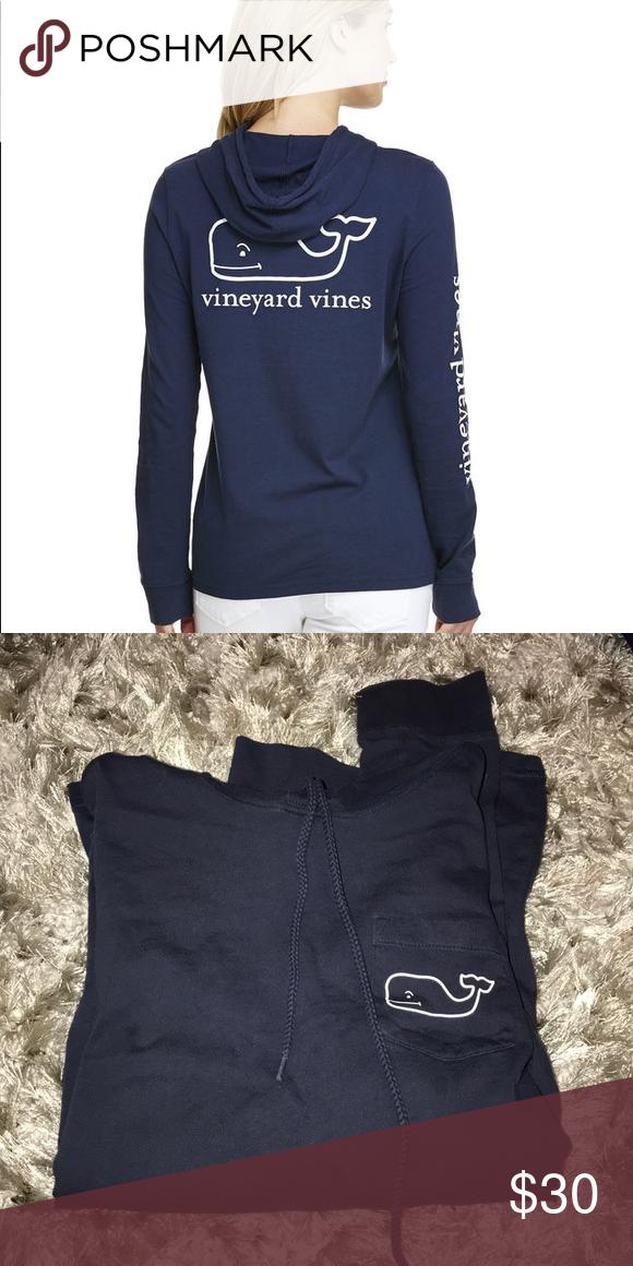 """310f55ddd Vineyard Vines Hoodie This is a """"t-shirt hoodie"""" worn once or twice. Still  looks brand new. Vineyard Vines Tops Tees - Long Sleeve"""