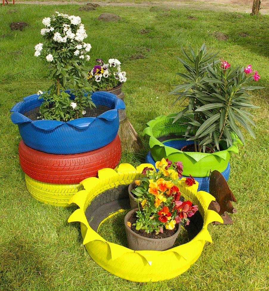 DIY: Autoreifen bunt anmalen als Gartengestaltung Garten