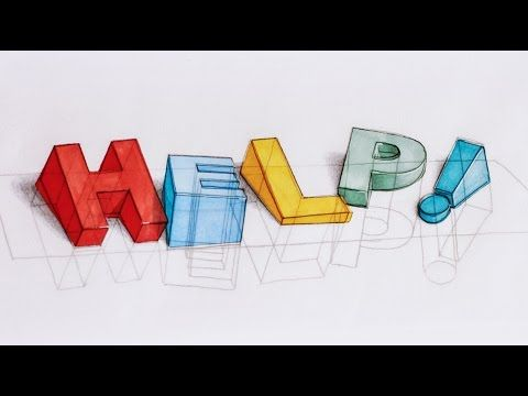 How I draw 3D text - HELP, I'M SINKING! - 3D typography process - YouTube #3dtypography