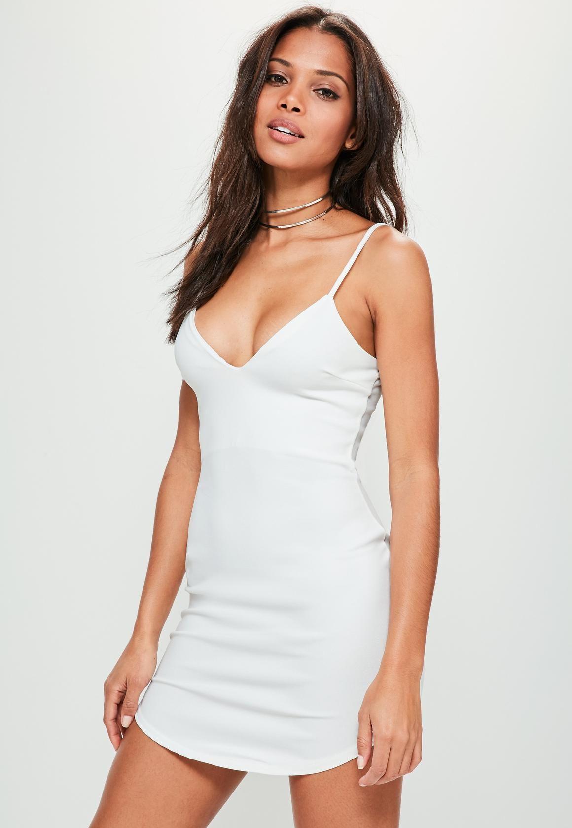 Missguided Strappy Plunge Bodycon Dress White White Short Dress Plunge Bodycon Dress Women Dress Online [ 1680 x 1160 Pixel ]