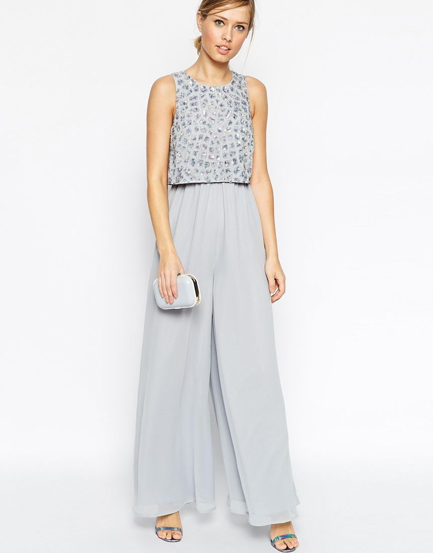 d9fd476afda Image 4 of ASOS Jumpsuit With Palazzo Pants And Embellished Overlay ...