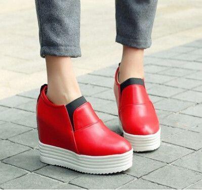 Women new fashion spring autumn high thick heels wedges hidden heels platform color block shoes large plus size 40-43
