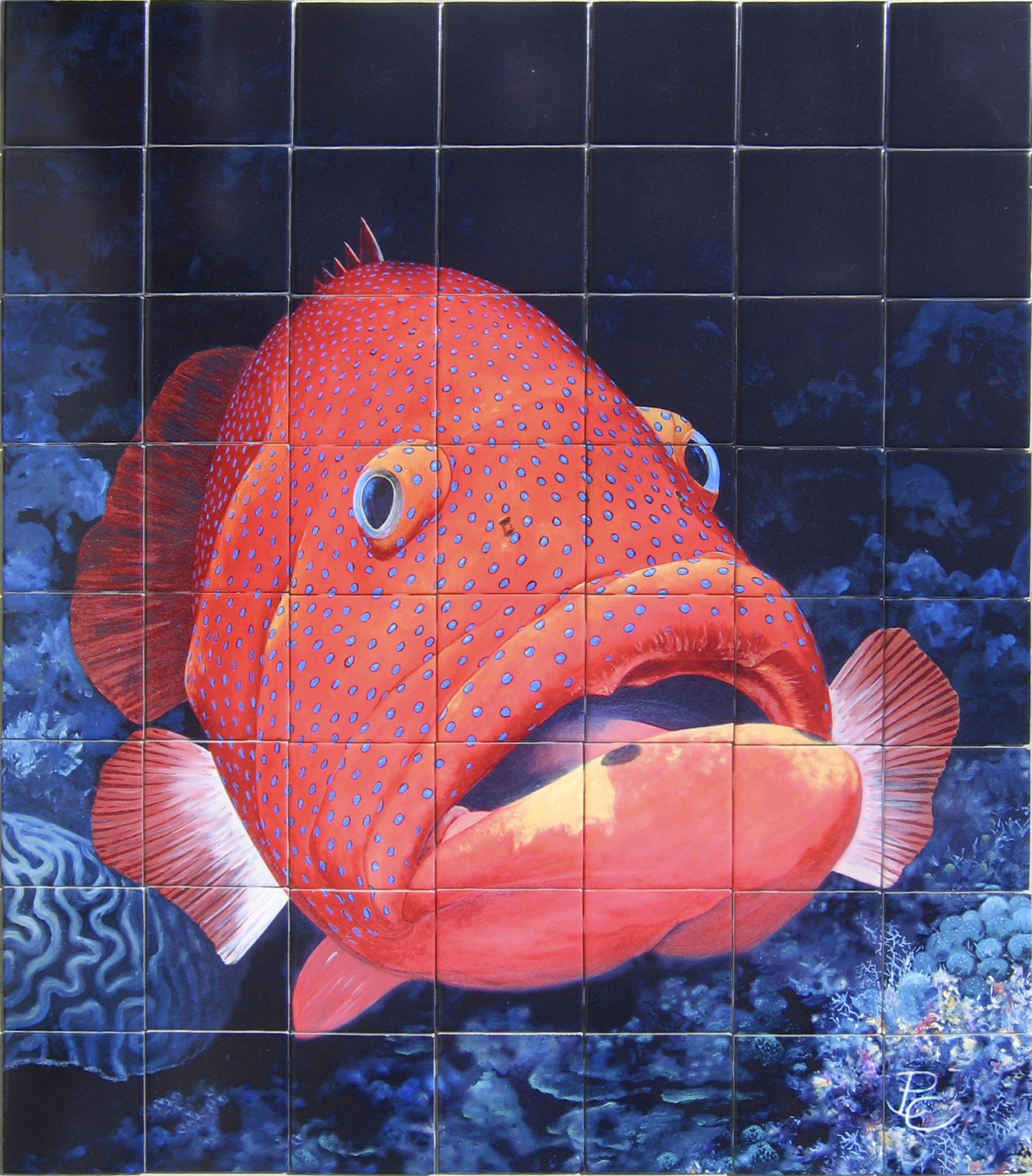 Custom imaged tile, grouper fish on ceramic tile for wall mural ...