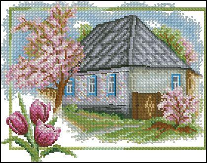 "Free cross-stitch pattern ""Spring"" | Cross-Stitch Club"
