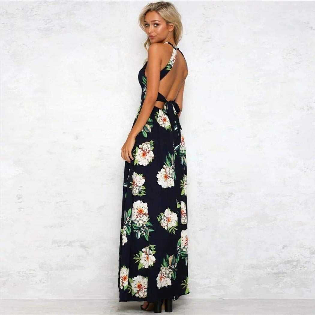 jiedream Summer Dress for Womens Maxi Dress O-Neck Long Sleeve Floral Printed Casual Swing Maxi Dress