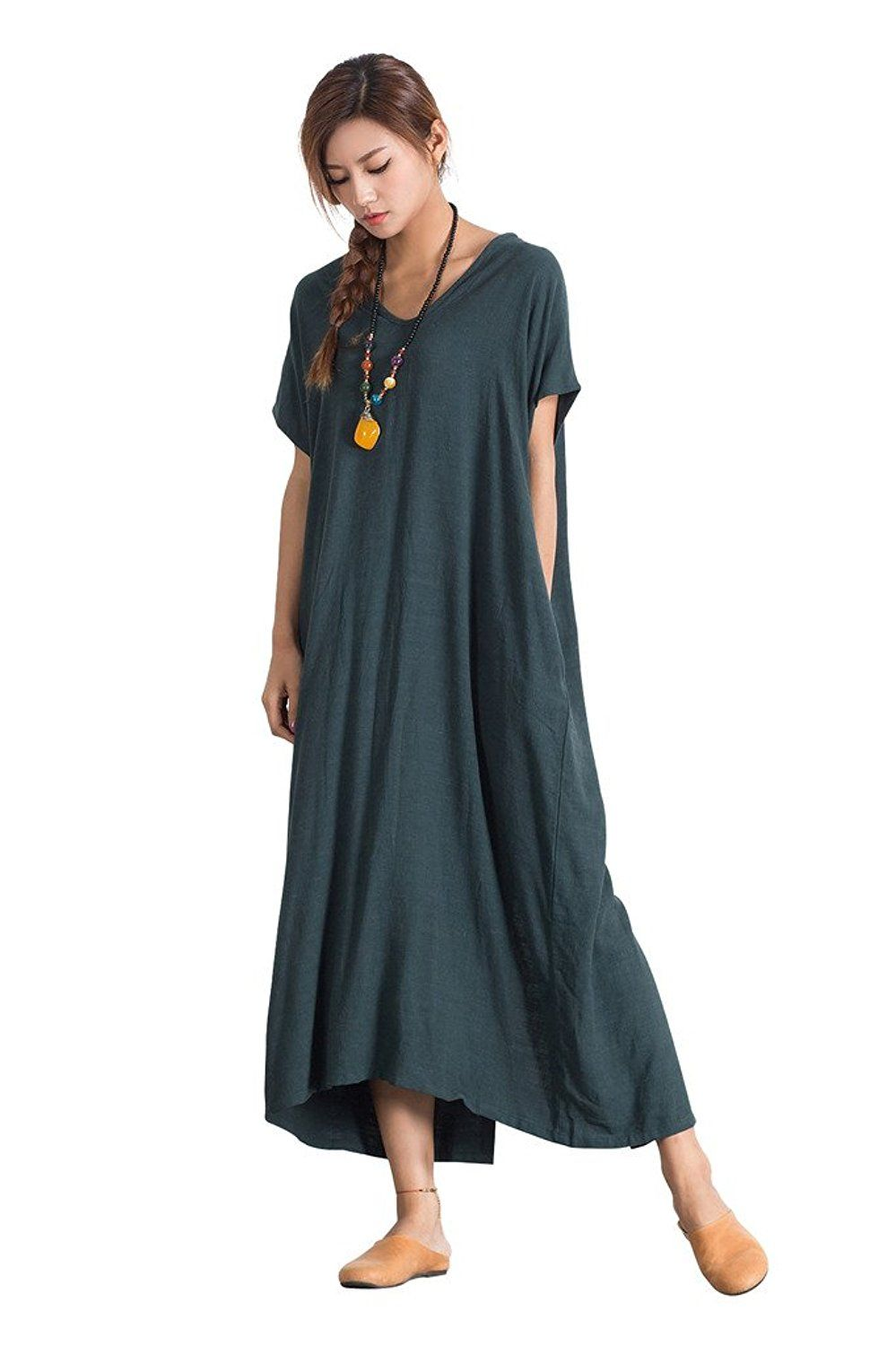 811cda7fc38 Sellse Women s Linen Loose Summer Large Size Long Dress Plus Size Cotton  Clothing at Amazon Women s Clothing store
