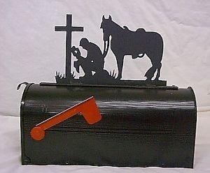 Western Praying Cowboy Mailbox Topper Steel Metal Sign Metal Signs Steel Metal Cool Mailboxes