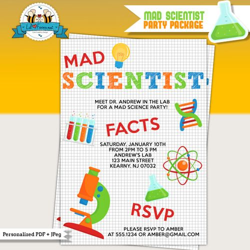 Science FREE Printable Birthday Party Invitations – Mad Scientist Birthday Party Invitations
