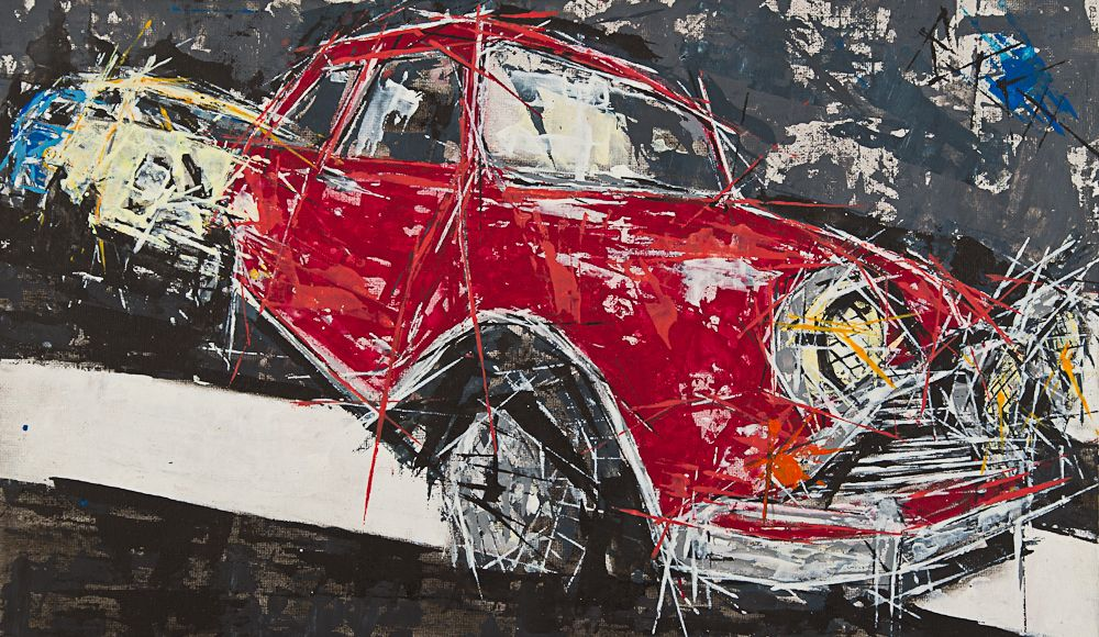 Mini Cooper, the Italian job. Painted 2012 . Painting