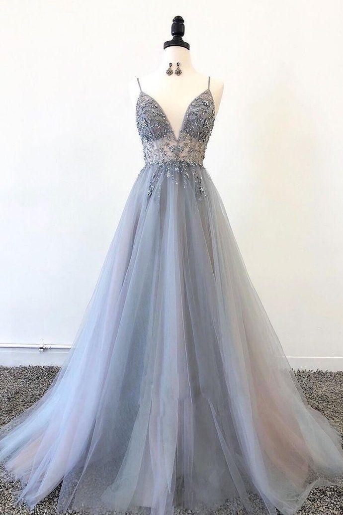 Graues langes Abendkleid aus Tüll mit V-Ausschnitt, graues Abendkleid aus Tüll #eveningdresses