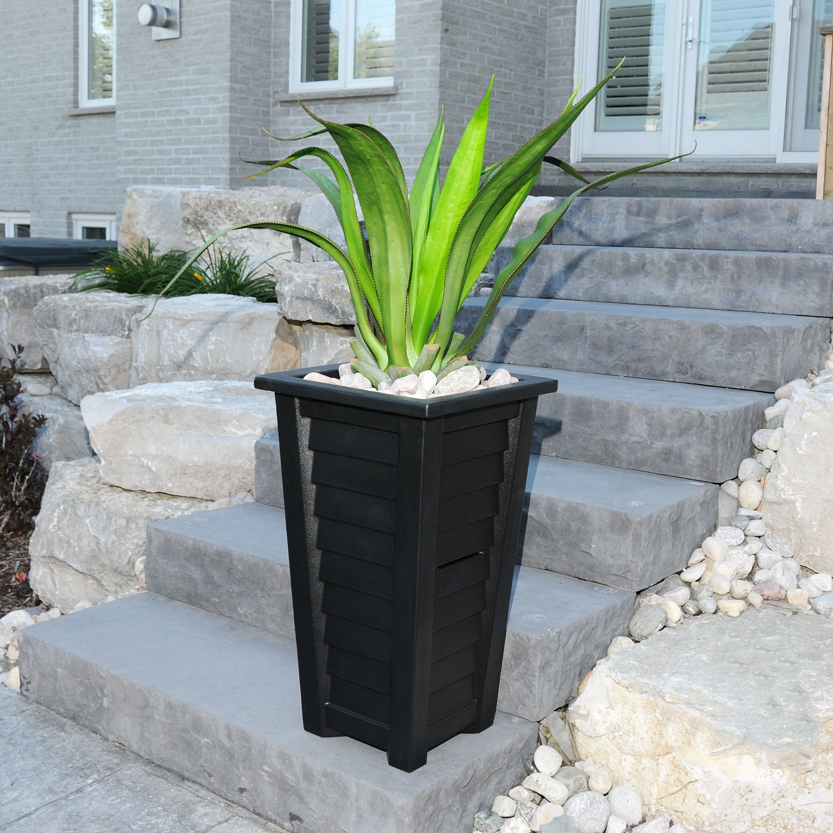 "Mayne Lakeland Tall 28"" Patio Planter in Black Made in the USA"