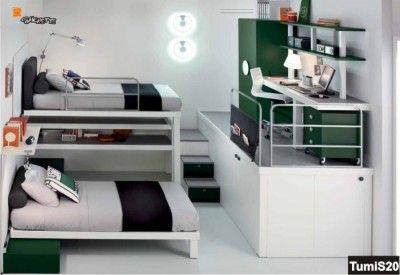 Soppalco misto con due letti scorrevoli, armadiatura sia sopra che sotto e scrivania  Bedroom ...