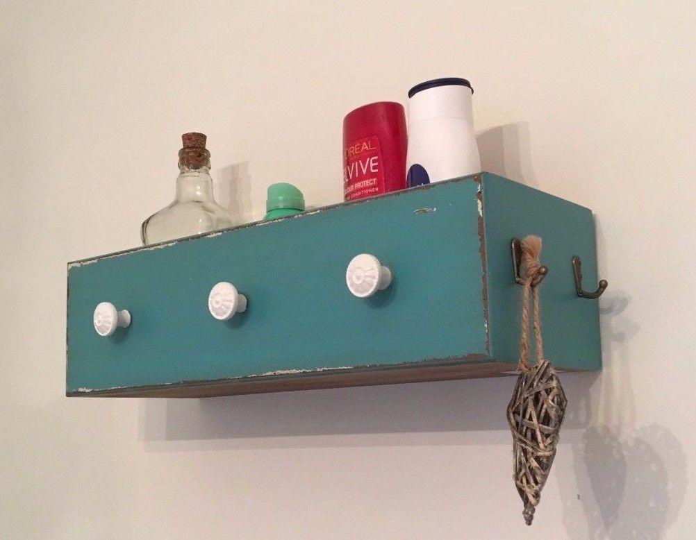 Shabby Chic Wall Shelf Hooks Drawer Bathroom Storage Unit ...