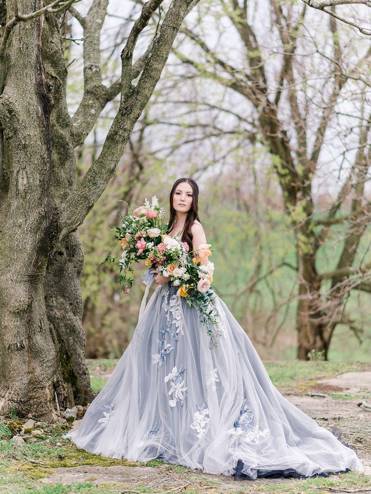 This Blue Ballgown Wedding Dress Is Giving Us Major Princess Vibes Wedding Dresses Whimsical Fairy Wedding Dress Blue Wedding Dresses [ 1600 x 1200 Pixel ]