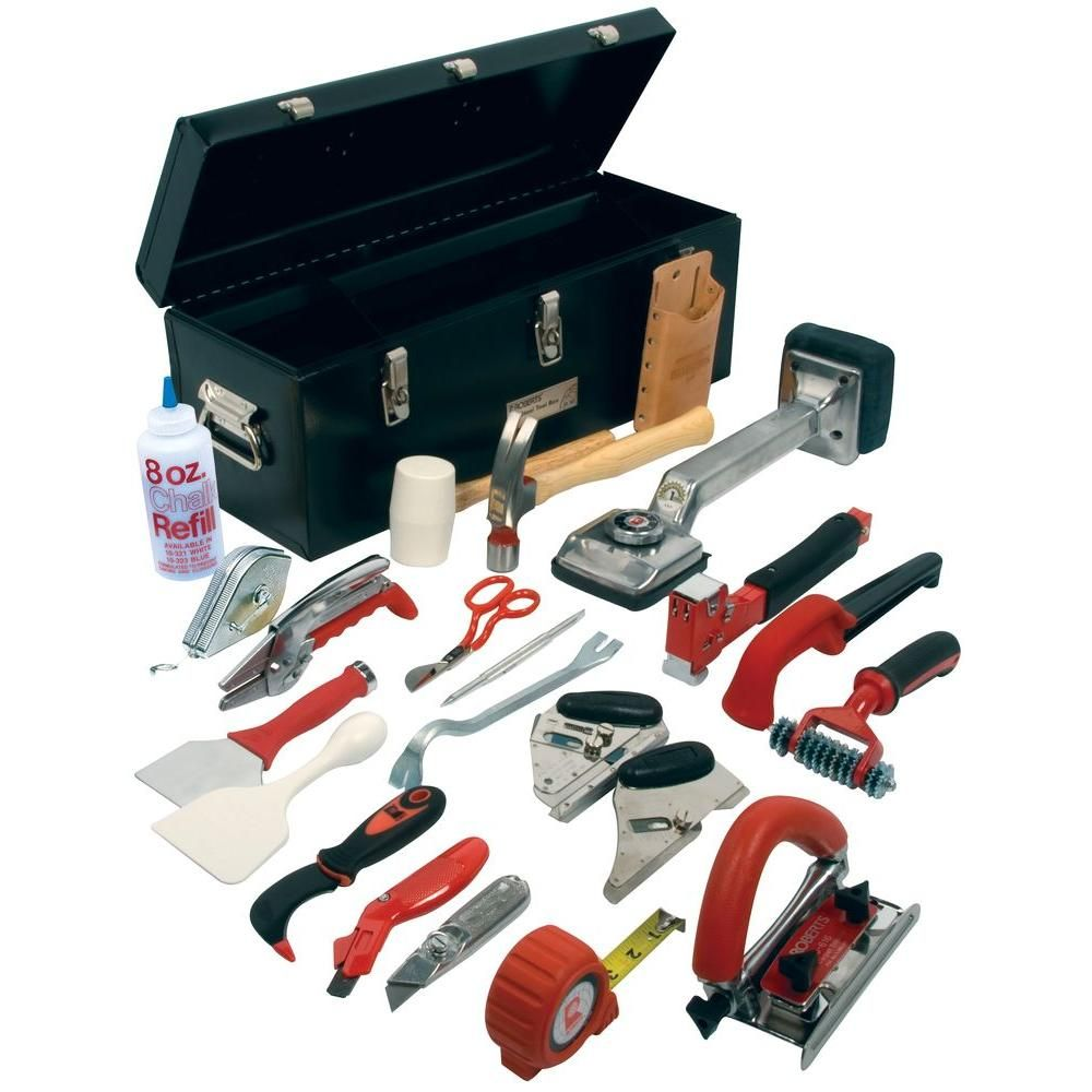 Roberts Carpet Installation Kit With 22 Tools Plus A 24 In Tool Box 10 750 The Home Depot Carpet Tools Carpet Installation Steel Tool Box