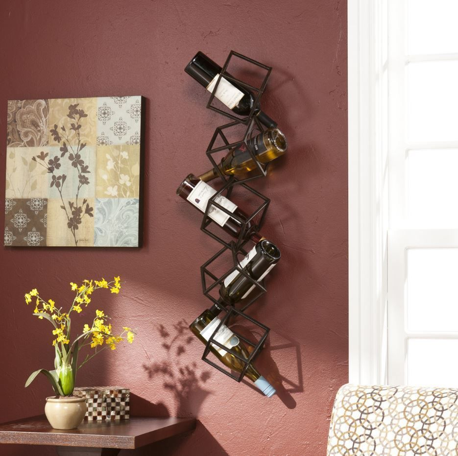 Metal Wall Wine Rack Cube Mounted Hanging Bottle Holder Storage Shelf Sculpture Wall Mounted Wine Rack Wine Rack Wall Bottle Wall