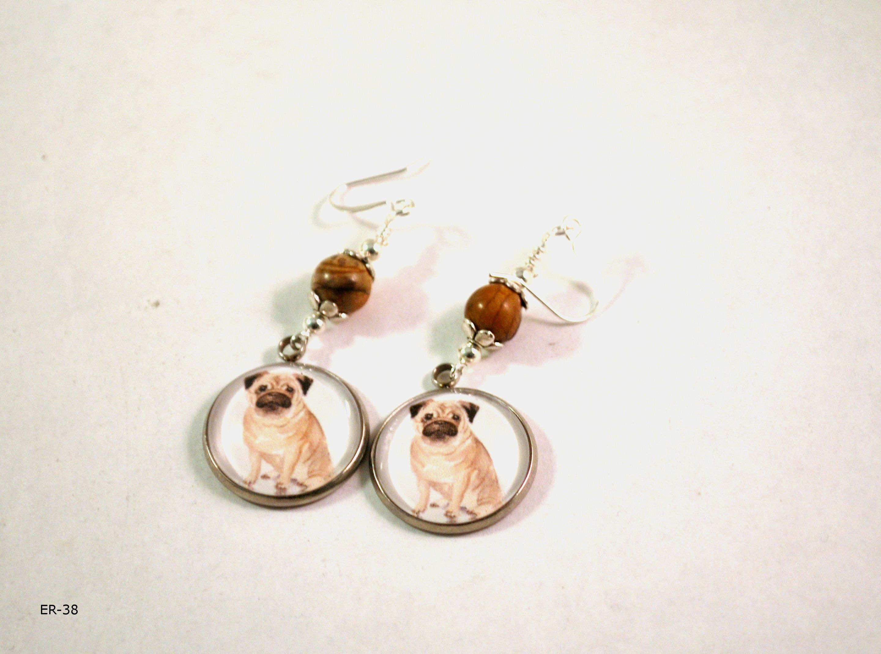 Pug Dog Earrings for Women, Handmade with Jasper Gemstones