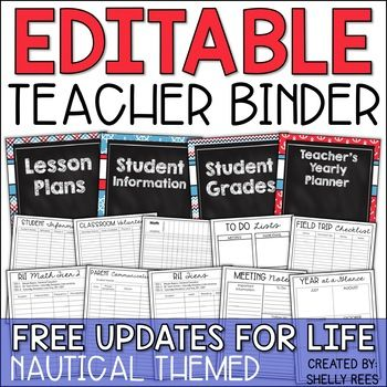 Teacher Binder - Editable Nautical Yearly Planner - Free Updates for Life #teacherplannerfree
