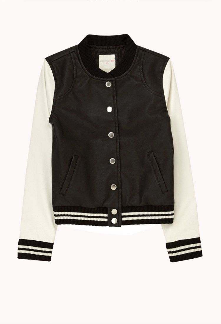 Faux Leahter Varsity Jacket | FOREVER21 girls Where are all the ...