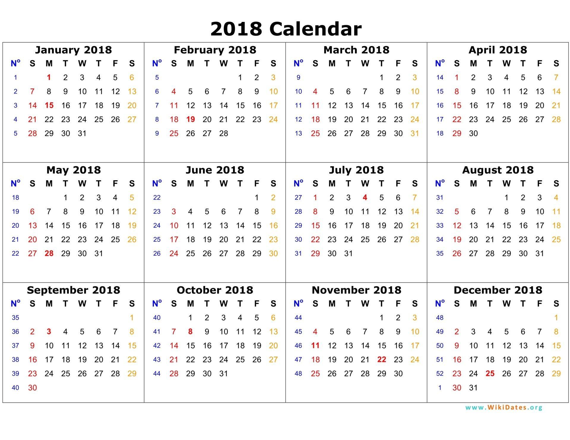 2018 Calendar Template 2018 Calendar Pinterest Calendar