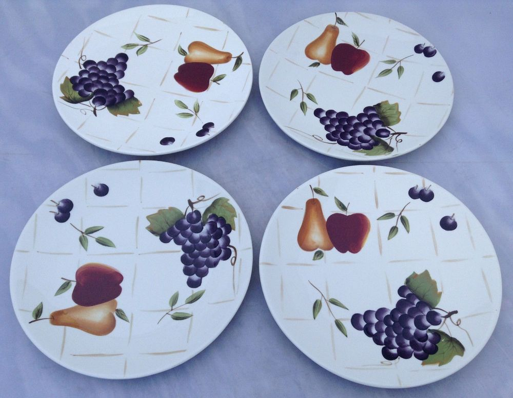 4 sonoma villa plates handpainted fruit motif home interiors 8 3 8 salad collectibles decorative collectibles decorative collectible brands ebay
